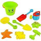 Gazechimp Set de 9pcs Enfants Jouets de Sable Jeux Plage Jardin Bac Seau Pelle Plastique Cadeau Coloré
