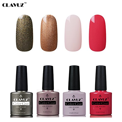 Set de Vernis à Ongles Semi-Permanent UV LED Soakoff 4pcs Kit Manucure 10ml de Clavuz-KIT 005