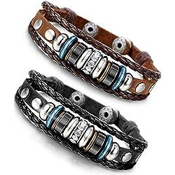 BESTEEL 2PCS Bracelets Cuir pour Homme Femme Bracelet Tissu Corde avec Zirconium Anneaux Ajustable, 18.5-21.5CM