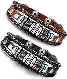 BE STEEL BESTEEL Schmuck Vintage Leder Armbänder für Herren und Damen Armband CZ geflochten Armreifen Länge Verstellbar