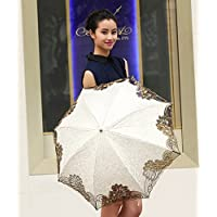 Princess Lace Twice Folding Umbrella Ultraviolet-Proof Umbrella/ Sun UV protection umbrellas-11250 (white)