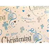 Christening Gift Wrap for a Baby Boy. High Quality Wrapping Paper. 2 Sheets