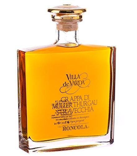 Villa de Varda Grappa Müller Thurgau Stravecchia-Roncola Alta Selezione / 40 % Vol. / 0,7 Liter-Flasche in Mahagoniholz-Kästchen