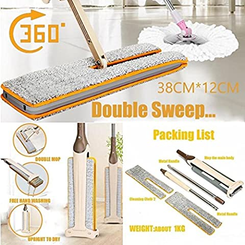 Xshuai Double Sided Non Hand Washing Microfiber Flat Mop with Telescopic Handle for Hardwood, Laminate, Tile floors, 2 Microfiber Pads for dusting or wet mopping, Multi-functional Scrapper