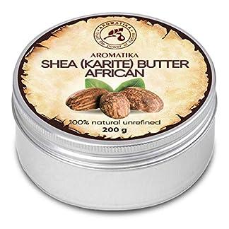 Manteca de Karité 200g – Africana -Ghana – Sin Refinar – Prensado en Frío – 100% Puro y Natural – Mejor para el Cabello – Piel – Labio – Cara – Cuidado del Cuerpo – Frasco de Aluminio