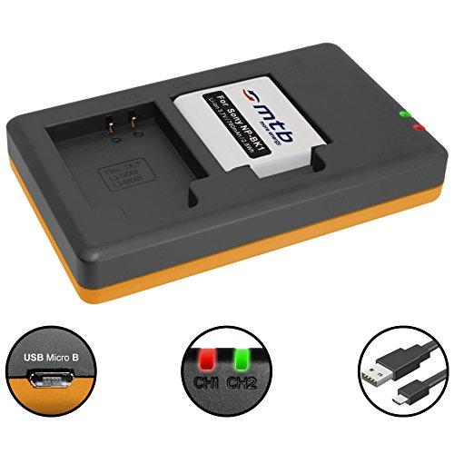 Np Bk 1 Batterie (Akku + Dual-Ladegerät (USB) für NP-BK1 / Sony DSC-S750, S780, S950, S980, W180, W190, W370, Bloggie PM5, CM5, Webbie PM1 (inkl. Micro-USB-Kabel))