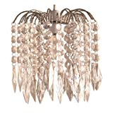 Lighting Web Co - Lampadario a gocce con struttura in argento, a 4 piani, colore: Diamante