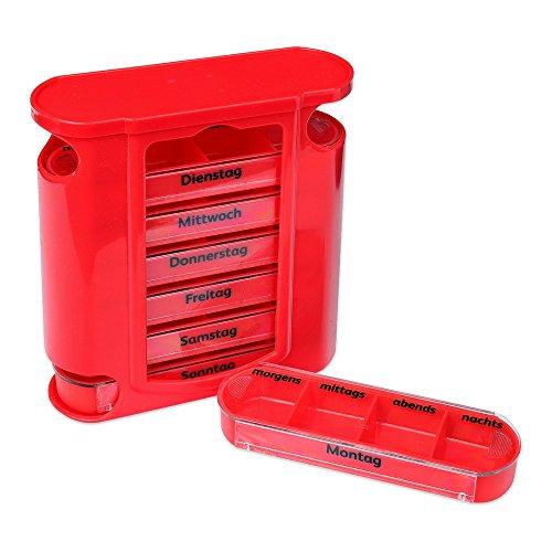 ox rot mit roten Schiebern 7 Tage Pillen Tabletten Box Schachtel Tablettendose Pillendose Pillenbox Tablettenboxen Pillendosen Pillen Dose Wochendosierer ()