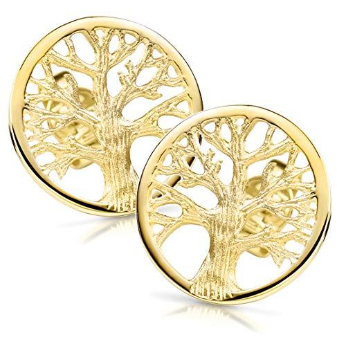 MATERIA Damen Ohrstecker gold Lebensbaum - 925 Silber Ohrringe Stecker vergoldet keltisch SO-380-14mm