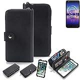 K-S-Trade 2in1 Handyhülle für Alcatel U5 HD Single SIM Schutzhülle & Portemonnee Schutzhülle Tasche Handytasche Case Etui Geldbörse Wallet Bookstyle Hülle schwarz (1x)