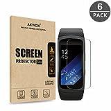 Akwox 6 Stück Schutzfolie für Gear Fit 2 Kratzfest HD Displayschutzfolie für Samsung Gear Fit 2