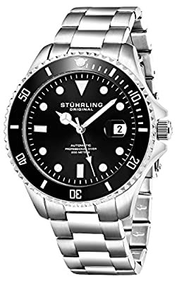 Stuhrling Original Black Dial Professional Divers Watches for Men Collection Automatic Self Wind 200 Meter Water Resistant Solid Stainless Steel Bracelet Screw Down Crown Designers Sport Dress Watch