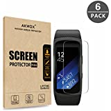 (Pack of 6) Gear Fit 2 Screen Protector, Akwox [HD Clear][Anti-Glare][Anti-Bubble] Full Coverage TPU Screen Protective Film for Samsung Gear Fit 2