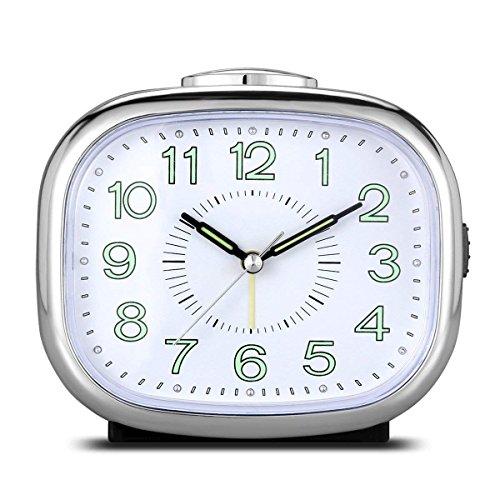 Jueven Reloj Despertador de Cuarzo Analógico con Alarma Analógica de Alto Volumen Melodía Doble Modo de Alarma Silenciador silencioso de luz Nocturna, Alimentado por Batería (Color : A)