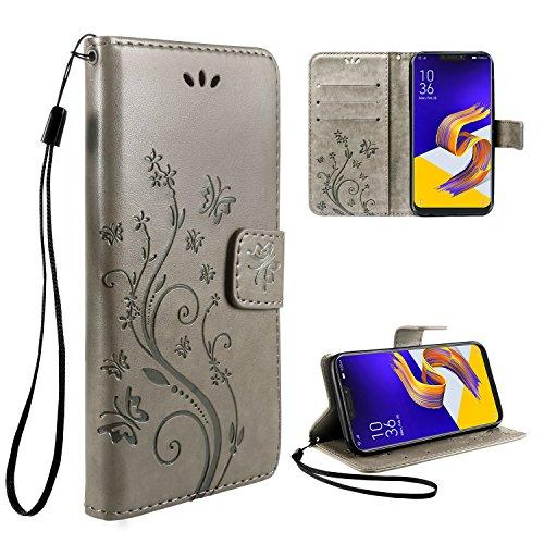 """Cover Asus Zenfone 5 ZE620KL Custodia, Leathlux Retro Fiore Modello Design Con Cinturino da Polso Magnetico Snap-on Bookstyle Internamente Silicone Case in pelle Flip Cover per Asus Zenfone 5 ZE620KL 6.2"""" Grigio"""