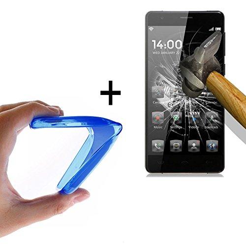 WoowCase - Flexible Gel Schutzhülle für [ HomTom HT5] [ +1 Schutzglas ] Hartglas, Hülle Case TPU Silikon in Blau