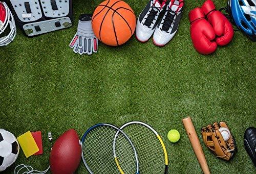EdCott Sport Werkzeuge Kulissen 10x6.5ft Vinyl Studio Hintergrund Angepasst Fotografie Hintergrund Verschiedene Gras Kinder Tennis Mischung Basketball Fußball Baseball Gras Böden Rasen Baseball -