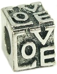 Stone River Jewellery Sterling Silver Plated Love Cube Charm Bead (Fits Pandora, Chamilia, Biagi, Troll Standard Size Bracelet)