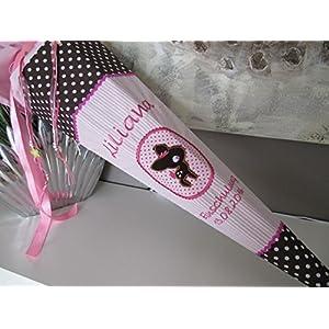 #25 Reh, Rehkitz rosa-braun Schultüte Stoff + Papprohling + als Kissen verwendbar