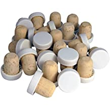 VinClasse® Push Fit Flanged Wine Stoppers / Corks - White - Pack Of 24