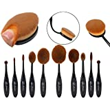Gift for Her 2016 New Professional 10 Pcs Soft Oval Toothbrush Makeup Brush Sets Foundation Brushes Cream Contour Powder Blush Concealer Brush Makeup Cosmetics Tool Set with Beautiful Package