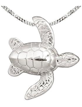 CLEVER SCHMUCK Silberner Anhänger Schildkröte 25 mm vollplastisch mit beweglichen Flossen seitlich hängend und...