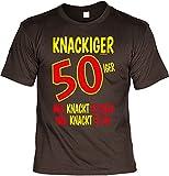 T-Shirt Zum 50. Geburtstag mit Blechschild im Set - Knackiger 50iger Mal Knackt es Hier Mal Knackt es da & Hier wohnt Oldtimer 50 Jahre