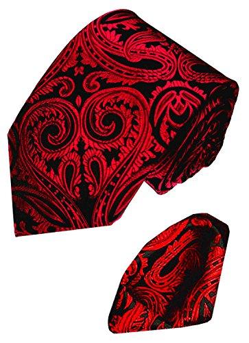 LORENZO CANA - Set aus 100% Seide : rot schwarz Paisley Krawatte mit Eintstecktuch - Hochzeit Schlips mit Tuch - 8438401