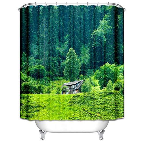 Gnzoe Duschvorhang 165x200CM Bad Vorhang Wald Hütte Muster Design Waschbar Vorhang Bunt für Badezimmer