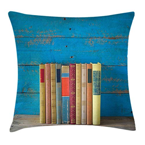 HLKPE Bookshelf Throw Pillow Cushion Cover, Cute Row of Nostalgic Books Front of Grungy Blue Toned Paint Wooden Wall Photo, Decorative Square Accent Pillow Case, Multicolor,18 X 18 Inches (Row Leopard Front)