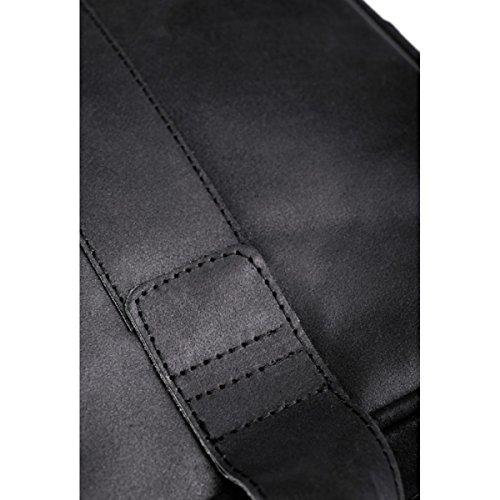 Brodrene echtes Leder Herren Schulter Laptop Tasche Premium Dundee BL01 (Grau/Rot) Schwarz/Schwarz