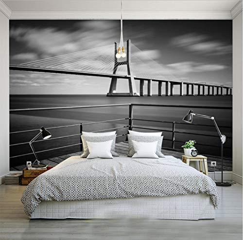 Wallpeprs Photo Nuit Vue Pont New York Villes Européennes Et Américaines Noir Et Blanc Salon Toile De Fond Papier Peint-300cm (W) x 200cm (H)