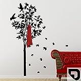 DESIGNSCAPE® Garderobe Ahornbaum mit Blättern 129 x 200 cm (B x H) schwarz inkl. 6 Edelstahl Wandhaken DW811005-L-F4