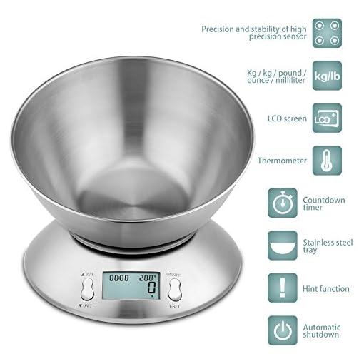 Bilancia Cucina Ciotola Elettronica in Acciaio Inossidabile 5kg Argento