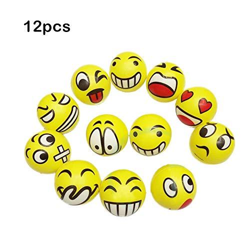 Emoji Stress Bälle, 12 Stücke Emoji Gesicht Squeeze Spielzeug für Hand Handgelenk Finger Übung Stressabbau Therapie Squeeze Party Favors