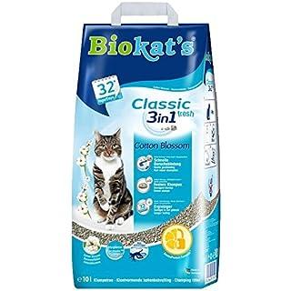 Biokat's Classic Fresh 3in1 Katzenstreu mit Cotton Blossom-Duft – verschiedene Korngrößen für feste Klumpen und schnelle Geruchsbindung – 1 Sack (1 x 10 L)