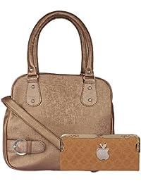 Fashonic Brown Pu Handbag Cum Sling Bag & Clutch For Women- Pack Of 2 (FASHONIC_0030)