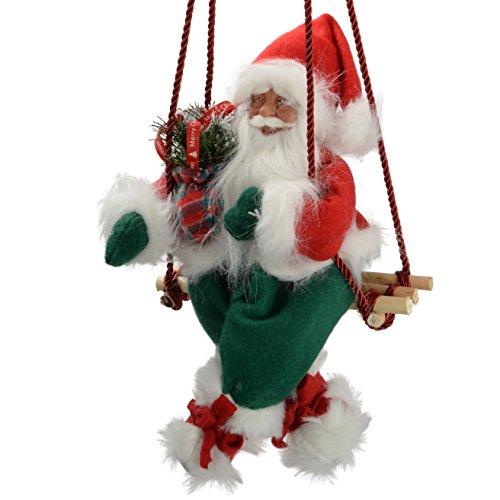 Werchristmas - decorazione natalizia a forma di babbo natale su altalena, 35 cm, colore: rosso/verde
