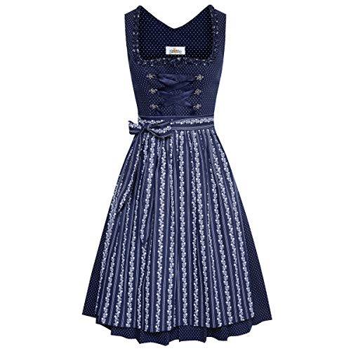 Almsach Damen Trachten-Mode Best-Price Midi Dirndl Bine in Dunkelblau traditionell
