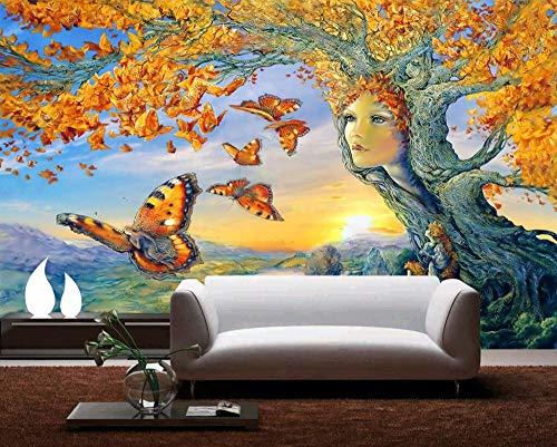 REAGONE Dekoration 3D Tapete Gold Baum Schmetterlinge Fliegen 3D Stereo Tv Sofa Hintergrund Wandbild Papel De Parede, 300X210 Cm (118.1 X 82,7 In)