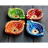 Store Indya Colorful Handmade Earthen Clay/Terracotta Decorative Diyas/Oil Lamps With Rhinestone/jewel For Pooja/Diwali/Puja Set Of 4