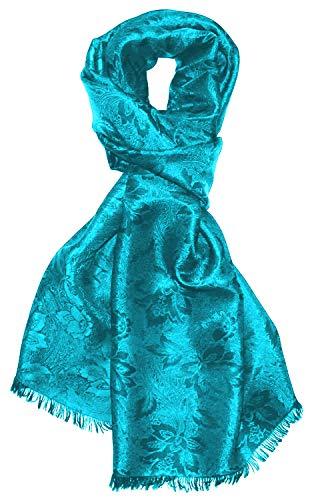 Lorenzo Cana High End Luxus Schal Luxustuch elegant gewebt in Damast - Webung florales Paisley Muster aus Viskose mit Seide 55 x 190 cm Eleganter Schal