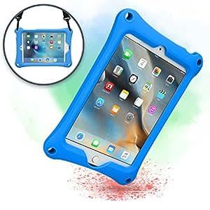 Cover Apple iPad Mini 4 3 2 1, Custodia Rigida COOPER BOUNCE STRAP Silicone Maxi Protezione Super Resistente Ottima per Bambini Viaggio Auto Supporto Tracolla con Cavalletto, Blu