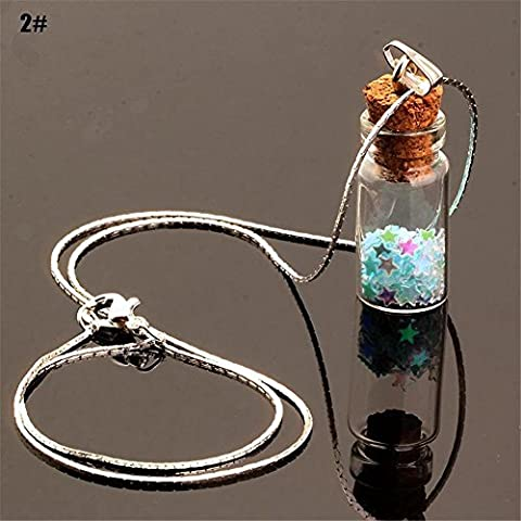 Bangood Lady Charming Chain Star Sand Glass Wishing Bottle Multicoloured Pendants Necklace?2# by Bangood
