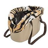 Ferplast 79515021 Hundetragetasche With-Me Winter, aus innovativem EVA Gummi, Mit Felleinsatz, 17 x 45 x H26 cm, Schwarz/Weiß