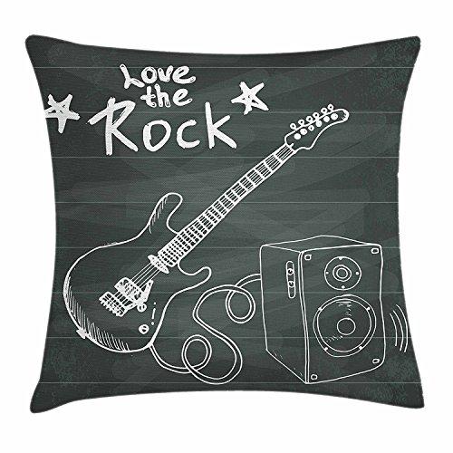 fringcoook Gitarre Überwurf Kissenbezug, Love The Rock Musik Zeichen Skizze Kunst Sound Box und Text auf Tafel, dekorativ quadratisch Accent Kissen Fall, 45,7x 45,7cm, anthrazit grau ()