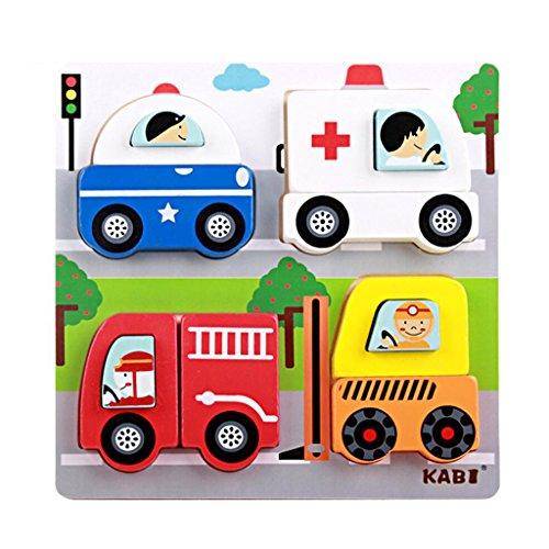 Bunte Holz Puzzle-Blöcke Puzzle Pädagogisches Spielzeug Baby Spielzeug - Auto, Länge: ca. 18 cm