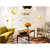 Golden Flower 3d Wall Sticker Home Decor Beauty Tulip Wall Decal For Living Room Wallpaper