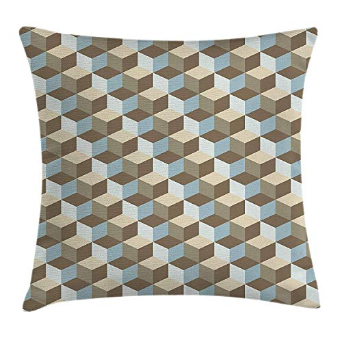 CHSUNHEY Kopfkissenbezüge,Geometric Abstract Three Dimensional Effect with Cubes Pattern Contemporary Art,Home Decorative Square for Sofa Throw Pillow Case 18