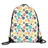 Dog Lover Duvet Cover Set Cartoon Style Dachshunds Dressed In Pyjamas Chevron Lines Polka Dots And Hearts,Multicolor_2Drawstring Shoulder Backpack